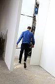 Fashion designer Carlos Campos walks the runway during his New York Fashion Week Men's Fall/Winter 2016 presentation at Skylight at Clarkson Sq on...