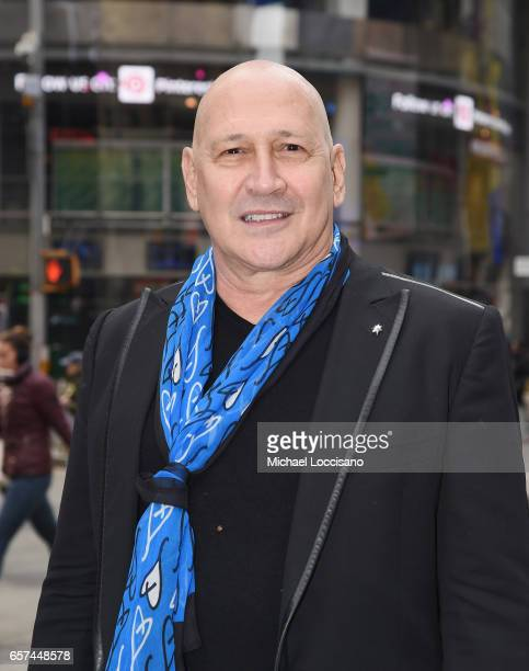 Fashion designer Carmen Marc Valvo and The Colon Cancer Alliance ring the Nasdaq Stock Market Opening Bell at NASDAQ on March 24 2017 in New York City