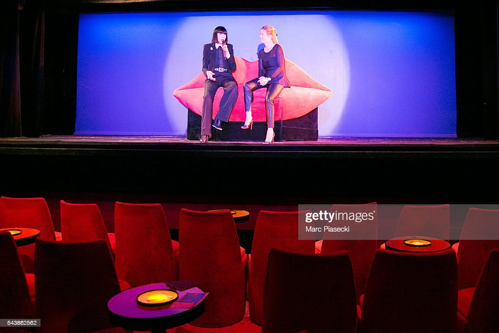 Fashion designer Chantal Thomass (L) and Andree Deissenberg (R) unveil new collaborator for the next show 'Dessous Dessus' at Le Crazy Horse on June 30, 2016 in Paris, France.