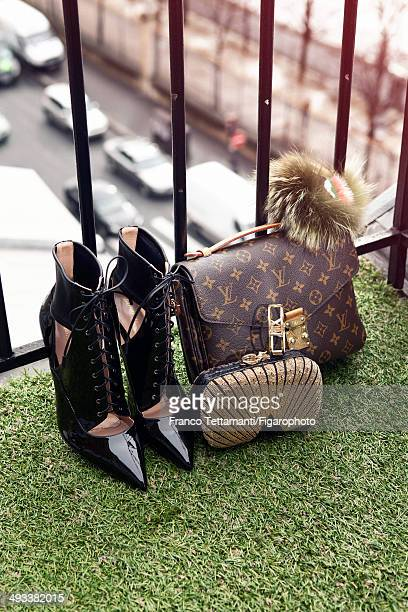 109232002 Fashion designer Chiara Ferragni's style inspirations are photographed for Madame Figaro on February 28 2014 in Paris France Boots bag bag...