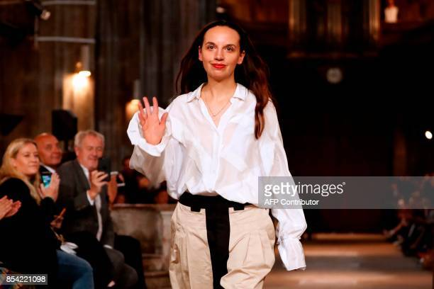 Fashion designer Christelle Kocher for Koche acknowledges the audience at the end of the women's 2018 Spring/Summer readytowear collection fashion...