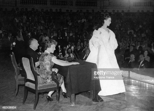 Fashion designer Christian Dior gives a conference on Fashion at la Sorbonne University on August 4 1955 in Paris France