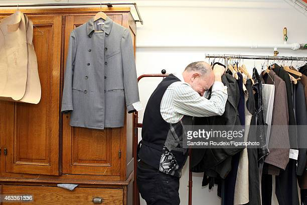 Fashion designer Christian Lacroix is photographed for Madame Figaro on December 26 2014 in the costume atelier of ComédieFrançaise in Paris France...