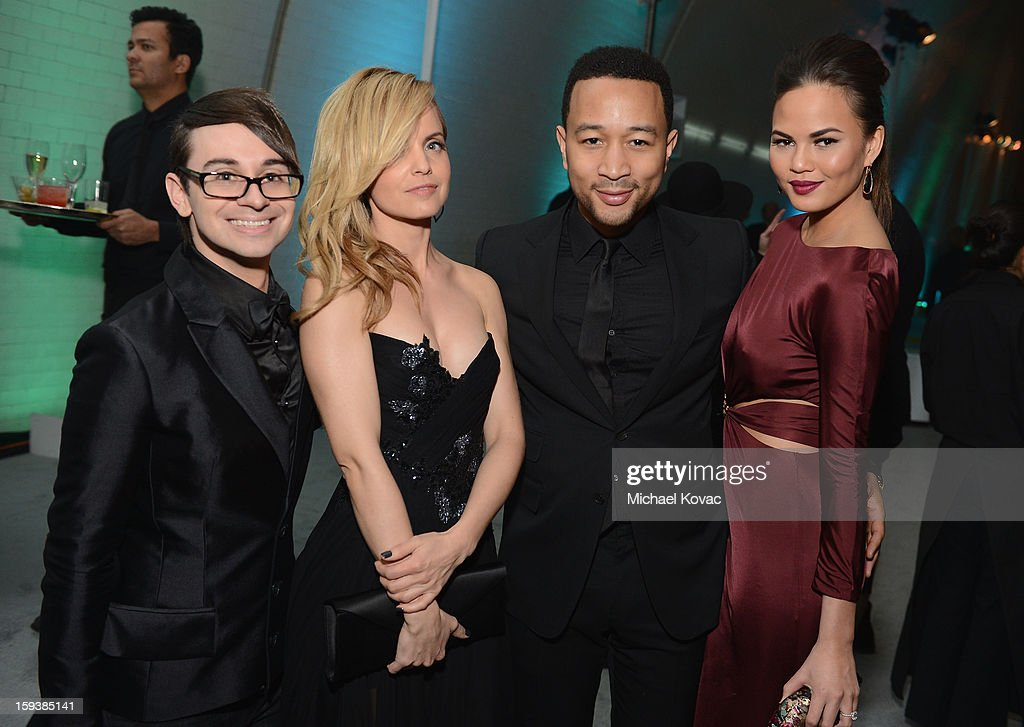 Fashion designer Christian Siriano, actress Mena Suvari, musician John Legend and model Chrissy Tiegan attend The Art of Elysium's 6th Annual HEAVEN Gala presented by Audi at 2nd Street Tunnel on January 12, 2013 in Los Angeles, California.