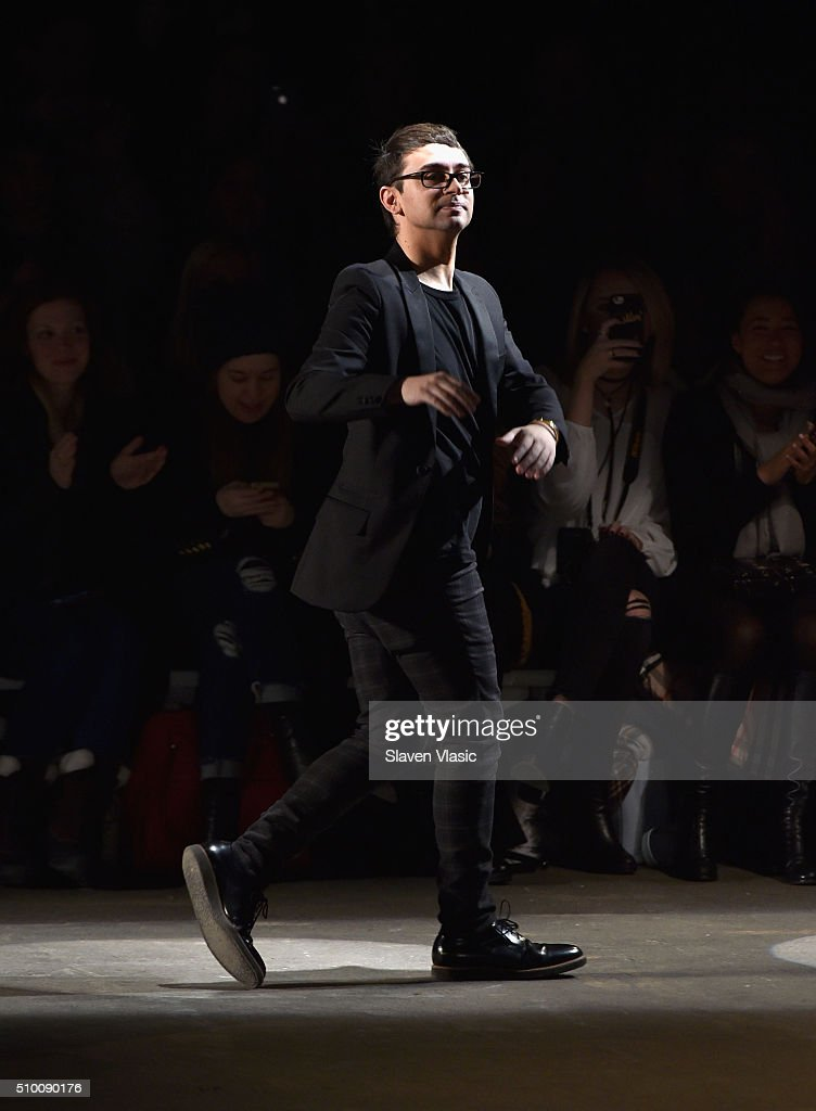 Fashion designer Christian Siriano walks the runway wearing Christian Siriano Fall 2016 during New York Fashion Week at ArtBeam on February 13 2016...