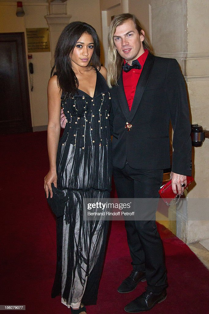 Fashion designer Christophe Guillarme (R) and Josephine Jobert, the niece of Marlene Jobert, attend the Gala de l'Espoir charity event against cancer at Theatre du Chatelet on November 12, 2012 in Paris, France.