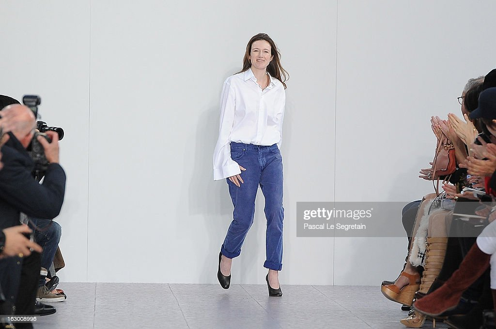Fashion designer Clare Waight Keller acknowledges applause following Chloe Fall/Winter 2013 Ready-to-Wear show as part of Paris Fashion Week on March 3, 2013 in Paris, France.