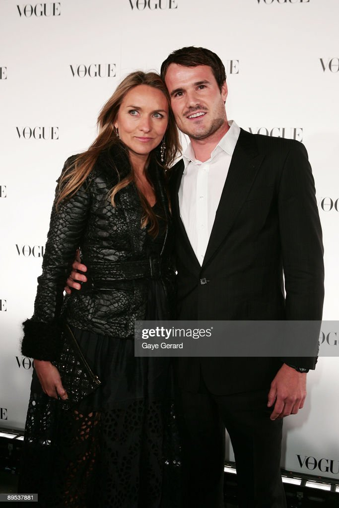 Fashion Designer Collette Dinnigan and partner Bradley Cocks arrive for Vogue Australia's 50th Anniversary Party at Fox Studios on July 31 2009 in...