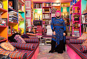 Fashion designer Dame Zandra Rhodes is photographed at hr home for Hello magazine on February 10 2015 in London England