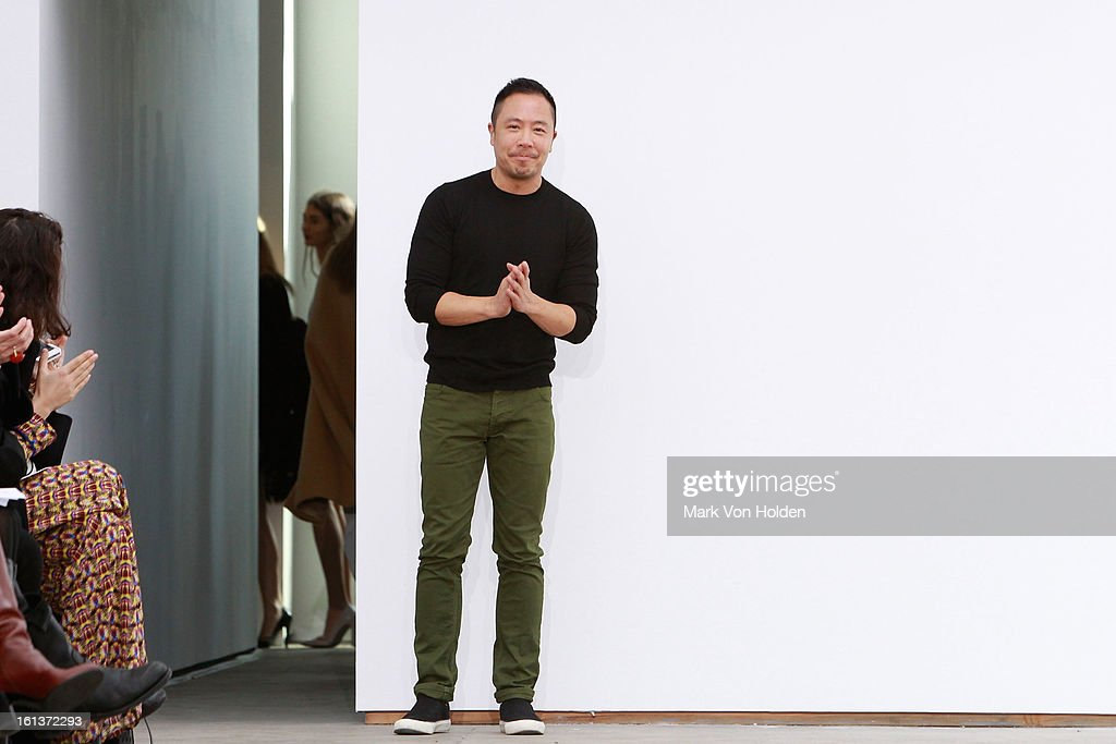 Fashion designer Derek Lam walks the runway at the Derek Lam fall 2013 fashion show during Mercedes-Benz Fashion Week at Sean Kelly Gallery on February 10, 2013 in New York City.