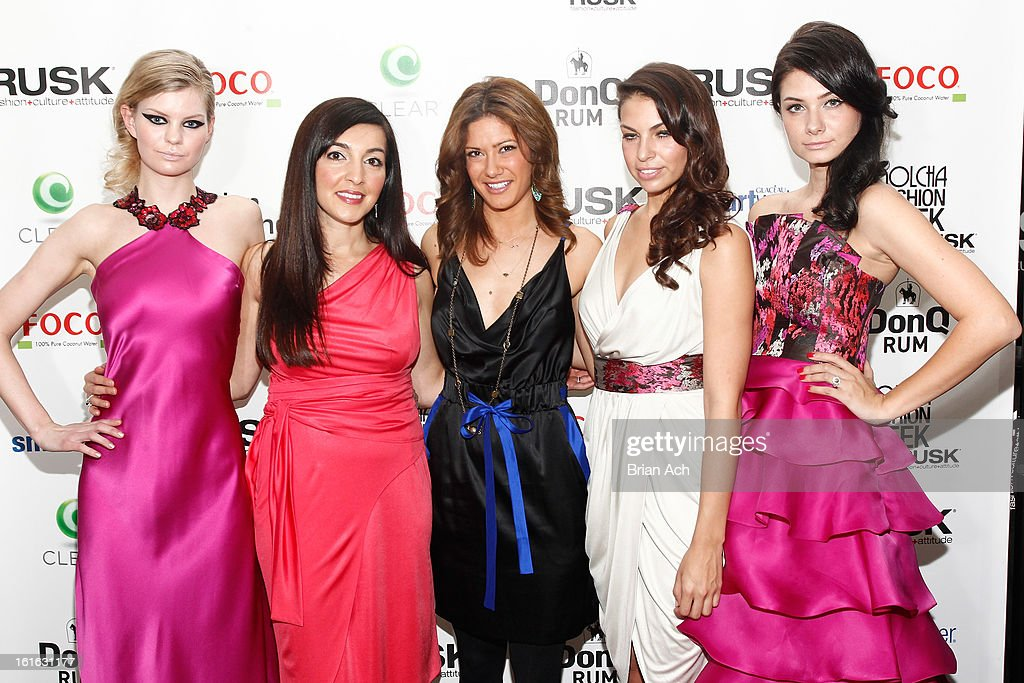 Fashion designer Diana Simaan (2nd L) and TV personality Kacie Boguskie (C) pose with runway models at Nolcha Fashion Week New York 2013 presented by RUSK at Pier 59 Studios on February 13, 2013 in New York City.