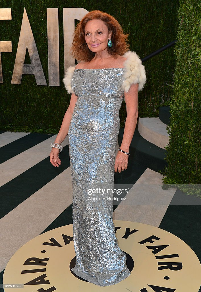 Fashion Designer Diane von Furstenberg arrives at the 2013 Vanity Fair Oscar Party hosted by Graydon Carter at Sunset Tower on February 24, 2013 in West Hollywood, California.