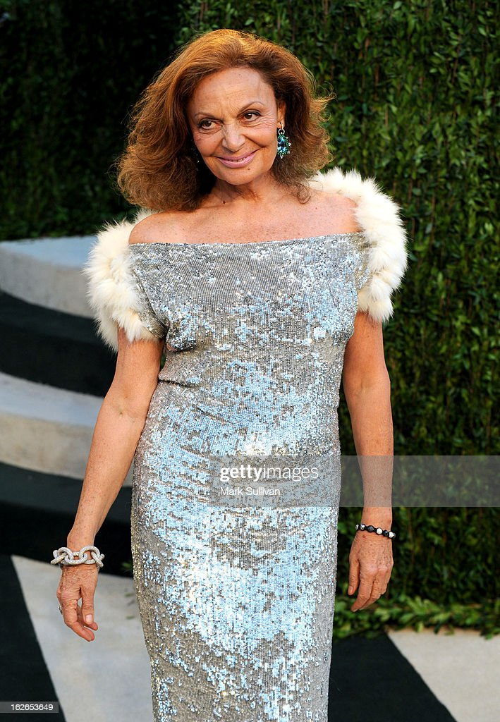 Fashion designer Diane von Furstenberg arrives at the 2013 Vanity Fair Oscar Party at Sunset Tower on February 24, 2013 in West Hollywood, California.