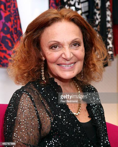 Fashion designer Diane von Furstenberg attends 'House of DVF' season finale with Diane von Furstenberg at The Grove on December 21 2014 in Los...
