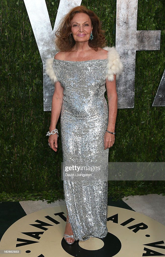 Fashion designer Diane von Furstenberg attends the 2013 Vanity Fair Oscar Party at the Sunset Tower Hotel on February 24, 2013 in West Hollywood, California.