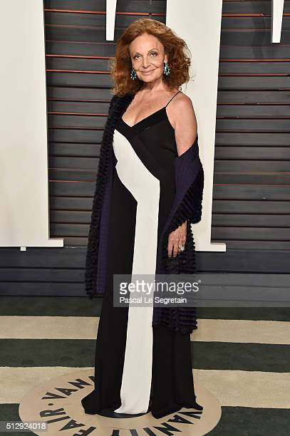 Fashion designer Diane von Furstenberg attends the 2016 Vanity Fair Oscar Party Hosted By Graydon Carter at the Wallis Annenberg Center for the...