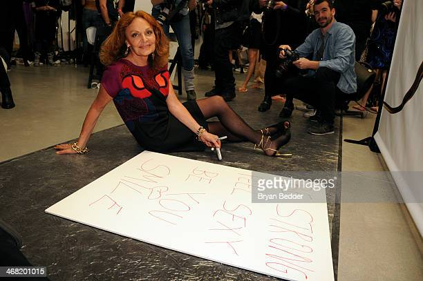 Fashion designer Diane von Furstenberg attends the American Express UNSTAGED Fashion with DVF at Spring Studios on February 9 2014 in New York City