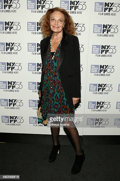 Fashion designer Diane von Furstenberg attends the 'Everything Is Copy' premiere during the 53rd New York Film Festival at Walter Reade Theater on...
