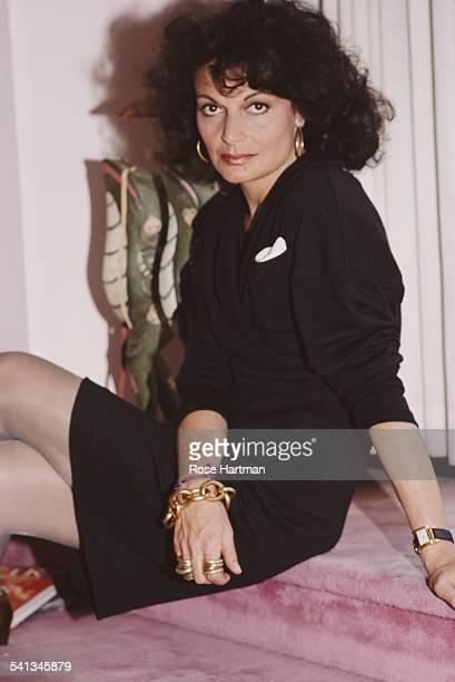 Fashion designer Diane von Furstenberg in her atelier 1987