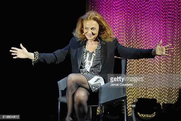 Fashion designer Diane von Furstenberg speaks onstage at A WrapUp With DVF during Tina Brown's 7th Annual Women in the World Summit at David H Koch...