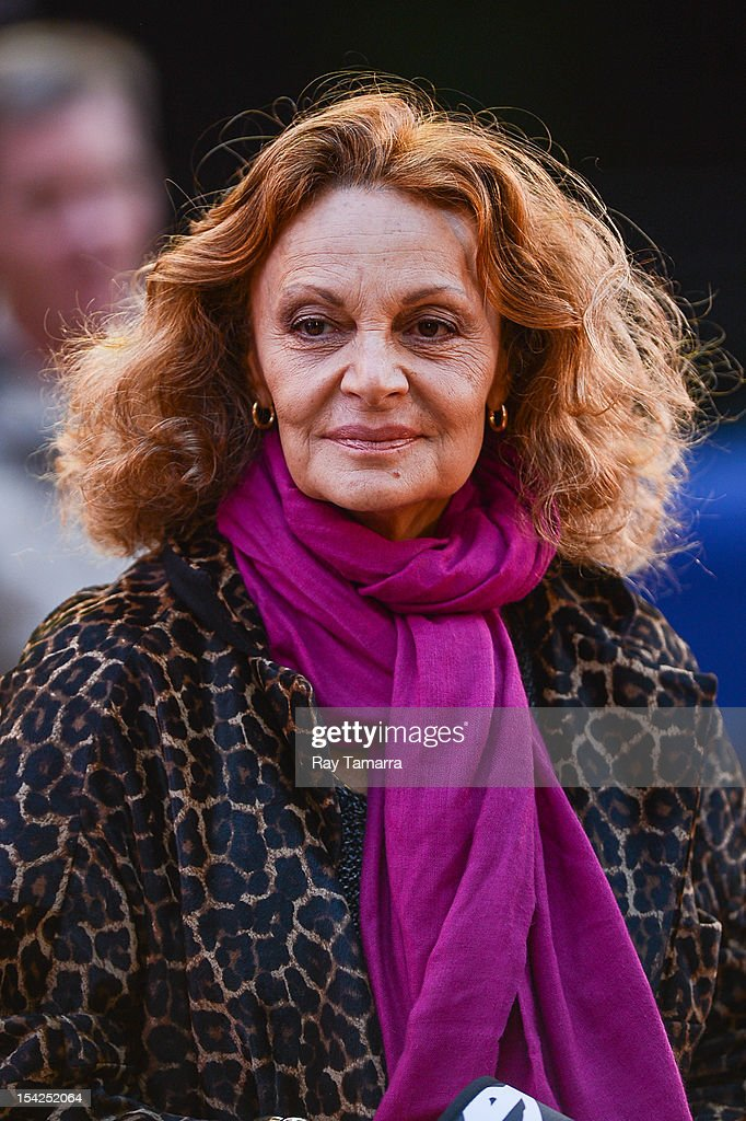 Fashion designer Diane von Furstenberg tapes an interview at 'Good Morning America' at the ABC Times Square Studios on October 16, 2012 in New York City.