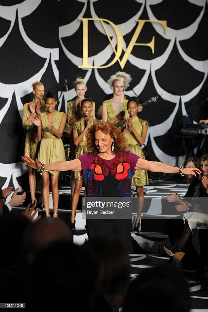 Fashion designer Diane von Furstenberg walks the runway at the American Express UNSTAGED Fashion with DVF at Spring Studios on February 9, 2014 in New York City.