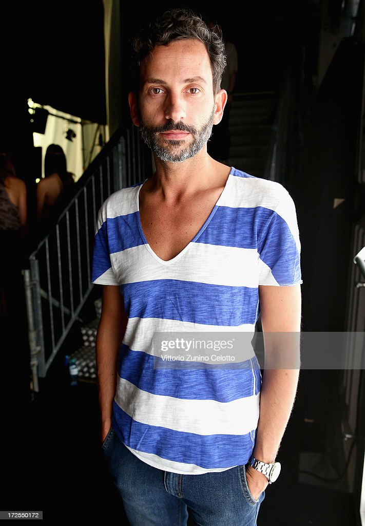 Fashion designer Dimitrios Panagiotopoulos backstage ahead of the Dimitri show during Mercedes-Benz Fashion Week Spring/Summer 2014 at Brandenburg Gate on July 3, 2013 in Berlin, Germany.