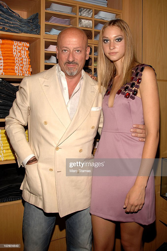 Fashion Designer Domenico Vacca (L) and Model Whitney Heleker (R) attend the Domenico Vacca Denim Preview at Domenico Vacca on July 15, 2010 in New York City.