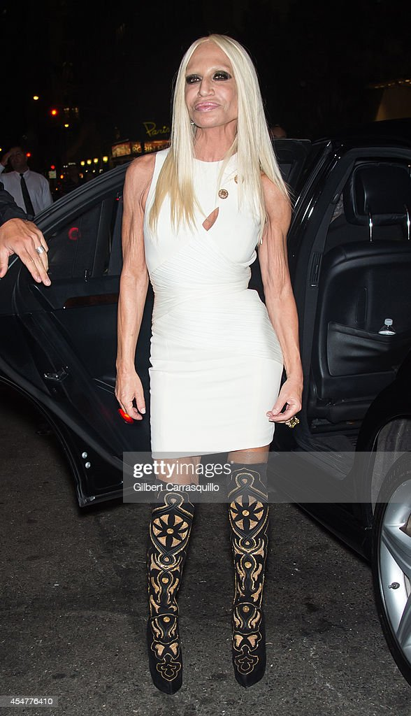 Fashion designer <a gi-track='captionPersonalityLinkClicked' href=/galleries/search?phrase=Donatella+Versace&family=editorial&specificpeople=202209 ng-click='$event.stopPropagation()'>Donatella Versace</a> is seen arriving to the Harper's Bazaar Celebrates ICONS by Carine Rotifeld at The Plaza Hotel on September 5, 2014 in New York City.