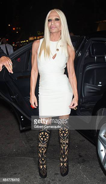 Fashion designer Donatella Versace is seen arriving to the Harper's Bazaar Celebrates ICONS by Carine Rotifeld at The Plaza Hotel on September 5 2014...
