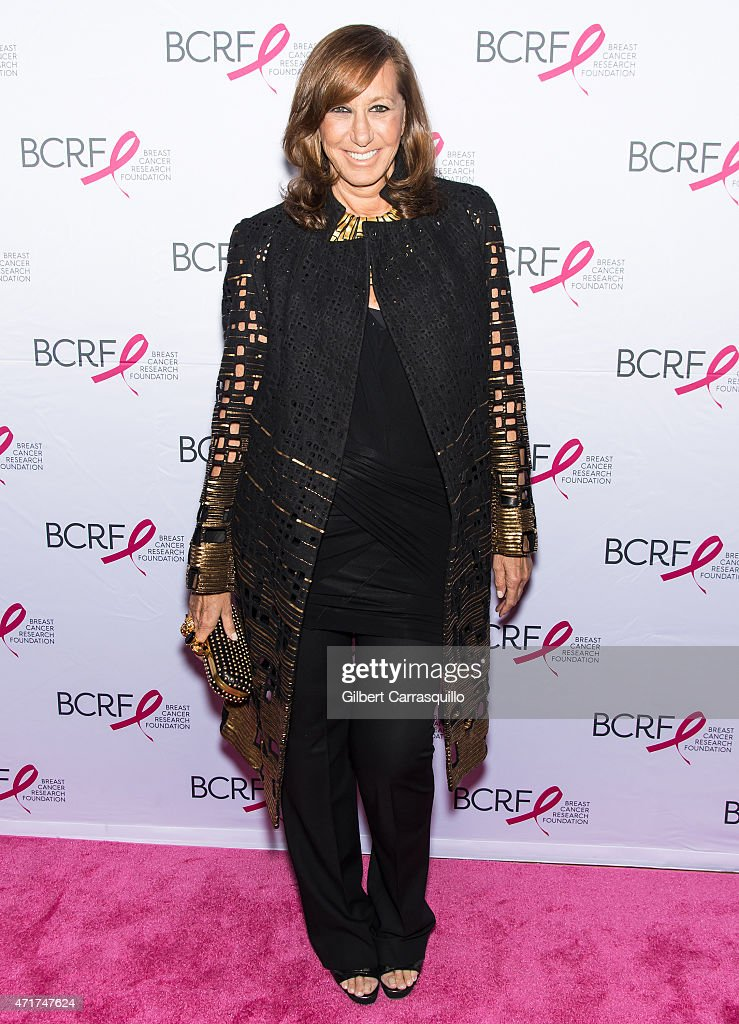 Fashion designer <a gi-track='captionPersonalityLinkClicked' href=/galleries/search?phrase=Donna+Karan+-+Fashion+Designer&family=editorial&specificpeople=4206478 ng-click='$event.stopPropagation()'>Donna Karan</a> attends The Breast Cancer Research Foundation 2015 Pink Carpet Party at The Waldorf=Astoria on April 30, 2015 in New York City.