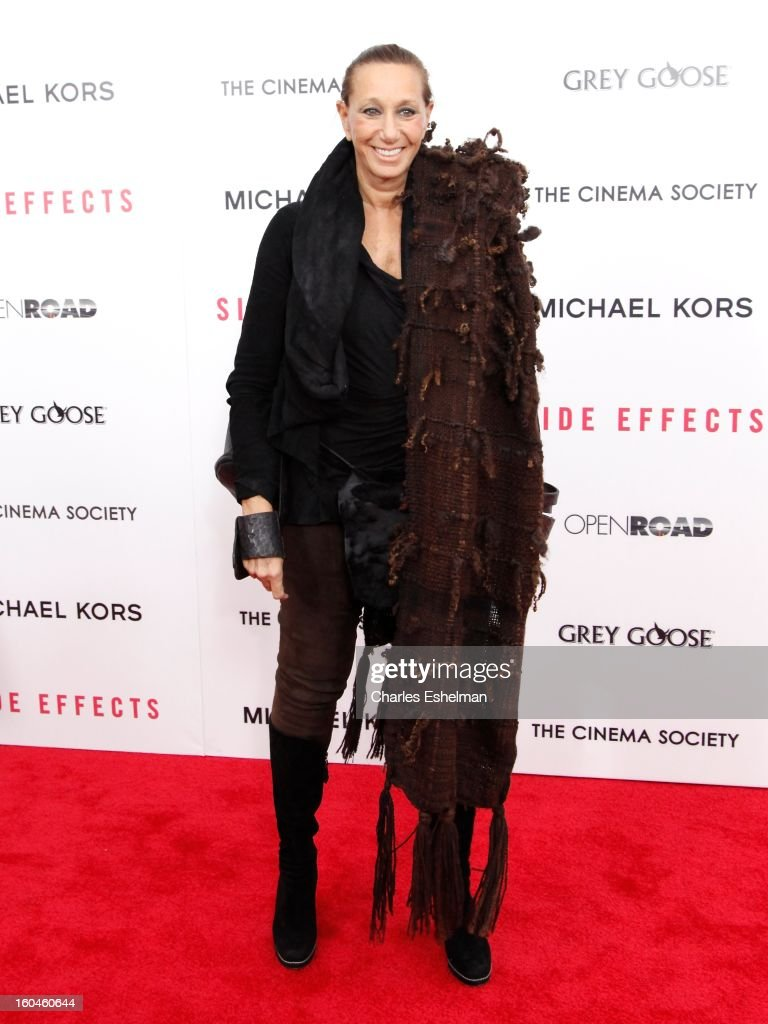 Fashion designer Donna Karan attends the Open Road, The Cinema Society & Michael Kors premiere of 'Side Effects' at AMC Loews Lincoln Square on January 31, 2013 in New York City.