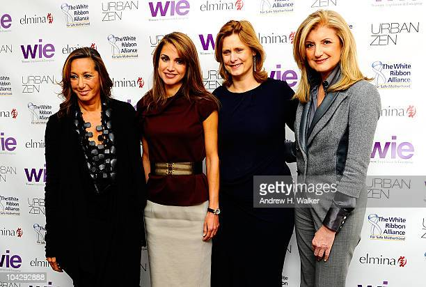 Fashion designer Donna Karan Queen of Jordan Rania Al Abdullah Sarah Brown and Arianna Huffington attend the 2010 WIE Symposium press conference at...
