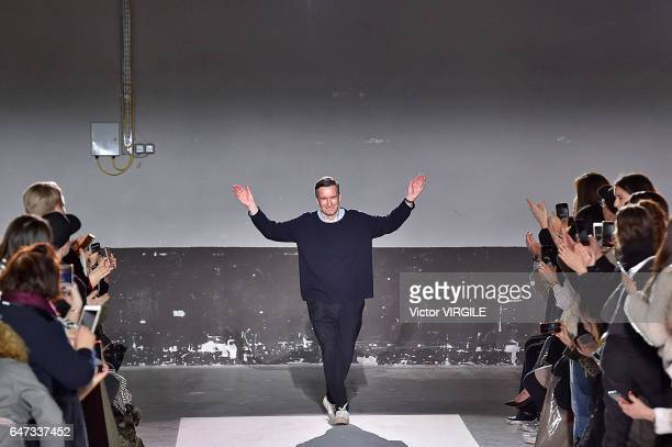 Fashion designer Dries Van Noten walks the runway during the Dries Van Noten Ready to Wear fashion show as part of the Paris Fashion Week Womenswear...