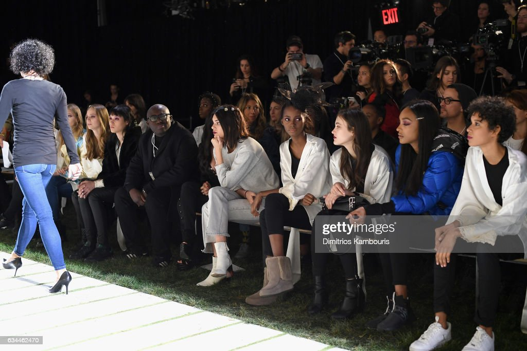 Fashion designer Edward Enninful, and model Kendall Jenner are seen in the front row during La Perla Fall/Winter 2017 RTW Show at SIR Stage 37 on February 9, 2017 in New York City.