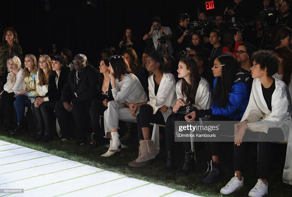 Fashion designer Edward Enninful, Creative Director, La Perla Julia Haart and model Kendall Jenner are seen in the front row during La Perla Fall/Winter 2017 RTW Show at SIR Stage 37 on February 9, 2017 in New York City.