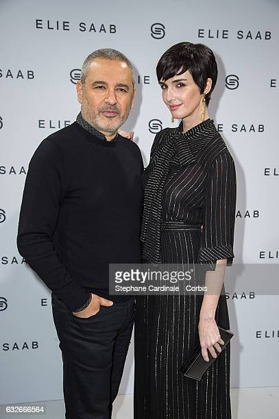 Fashion designer Elie Saab and Paz Vega pose Backstage after the Elie Saab Spring Summer 2017 show as part of Paris Fashion Week on January 25 2017...