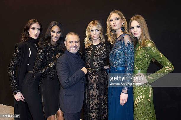 Fashion designer Elie Saab is photographed for Madame Figaro backstage at his Autumn/Winter 2015 2016 prêtàporter show on March 7 2015 in Paris...