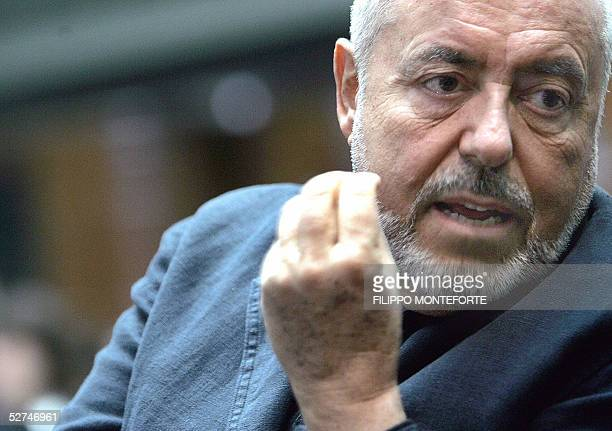 Fashion designer Elio Fiorucci is pictured during a break in Milan's first strategic fashion conference 02 May 2005 in central Milan Fashion...