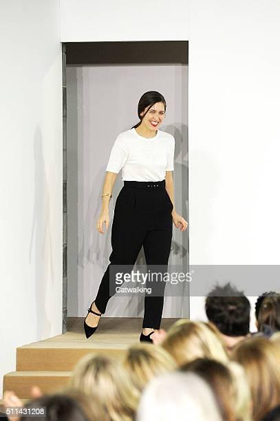 Fashion designer Emilia Wickstead walks the runway at the Emilia Wickstead Autumn Winter 2016 fashion show during London Fashion Week on February 20...