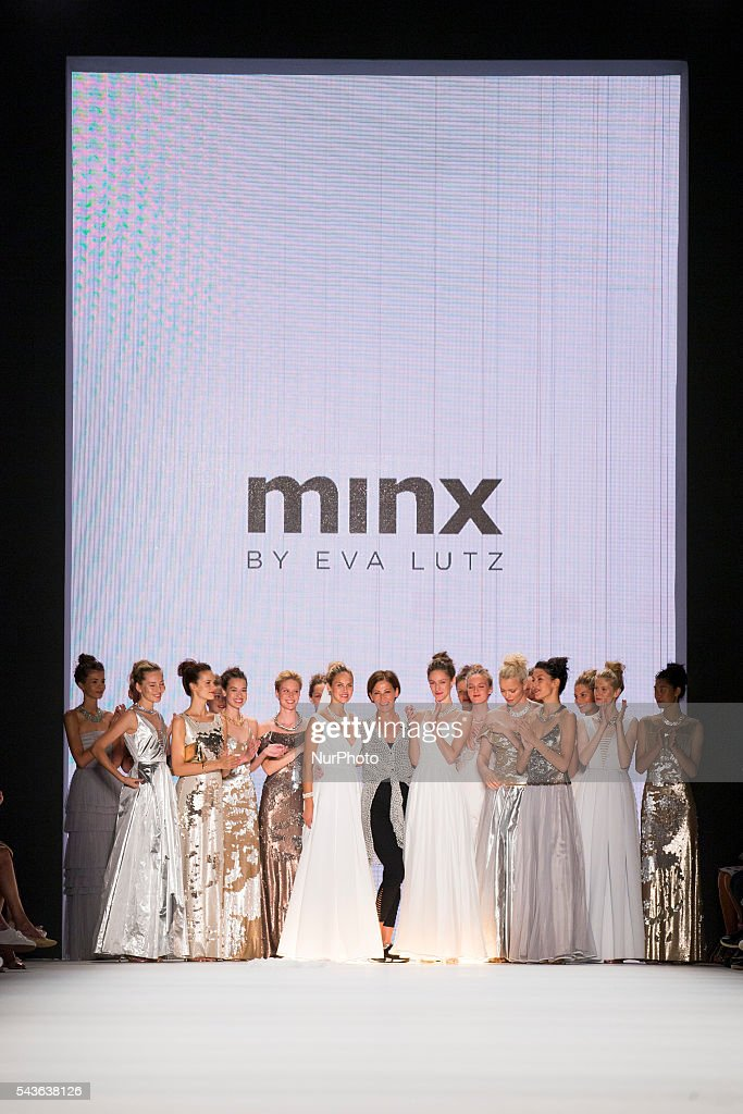 Fashion Designer Eva Lutz and models aknowledge the applause of the guests at the Minx by Eva Lutz show during the Mercedes-Benz Fashion Week Berlin Spring / Summer 2017 at Erika Hess Eisstadion in Berlin, Germany on June 29, 2016.