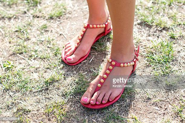 Fashion Designer for Ruby Violet Becky Cissell wearing Balenciaga sandals at Lovebox 2014 on July 18 2014 in London England