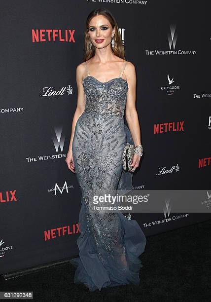 Fashion designer Georgina Chapman attends The Weinstein Company and Netflix Golden Globe Party presented with FIJI Water Grey Goose Vodka Lindt...
