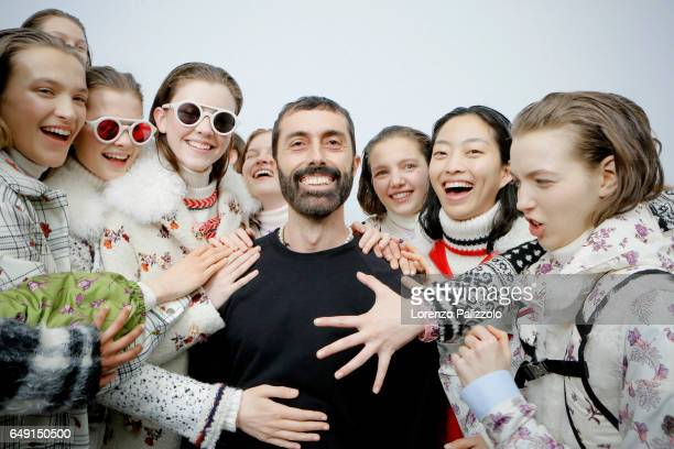 Fashion Designer Giambattista Valli and models are seen backstage before the Moncler Gamme Rouge show as part of the Paris Fashion Week Womenswear...