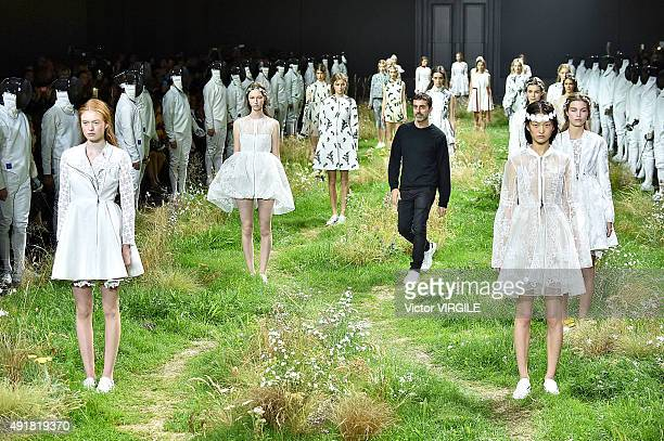 Fashion designer Giambattista Valli walks the runway during the Moncler Gamme Rouge Ready to Wear show as part of the Paris Fashion Week Womenswear...