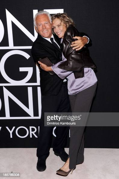 Fashion designer Giorgio Armani and Lauren Hutton attend Giorgio Armani One Night Only NYC at SuperPier on October 24 2013 in New York City
