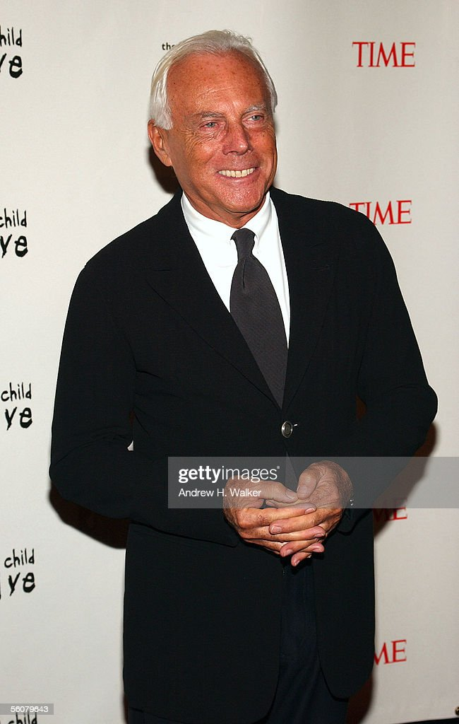 Fashion designer Giorgio Armani arrives at the Keep a Child Alive Annual Fundraiser 'The Black Ball' at Frederick P Rose Hall at Lincoln Center...