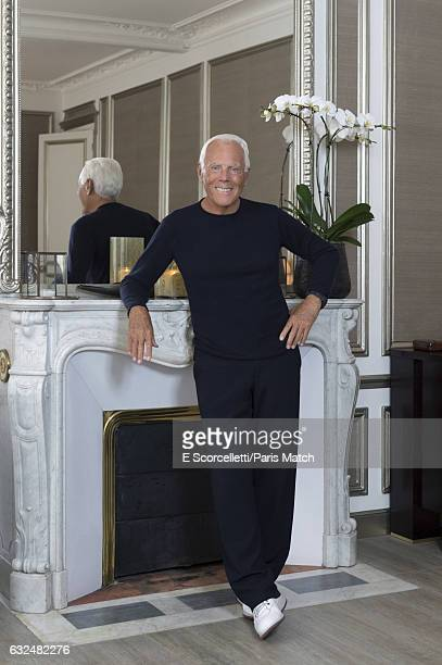 Fashion designer Giorgio Armani is photographed at his home in SaintGermaindesPrÈs for Paris Match on October 2 2016 in Paris France