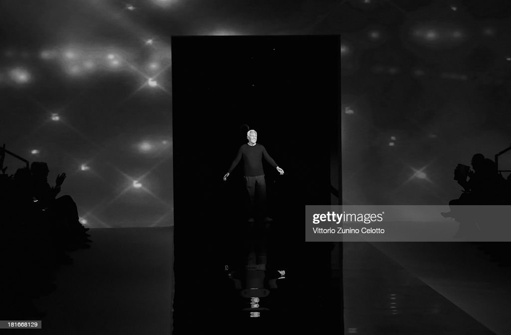 Fashion designer Giorgio Armani on the runway after his show as a part of Milan Fashion Week Womenswear Spring/Summer 2014 at on September 23, 2013 in Milan, Italy.