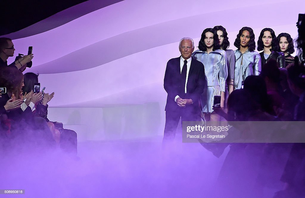 Fashion designer Giorgio Armani on the runway during the Giorgio Armani Prive Spring Summer 2016 show as part of Paris Fashion Week on January 26...